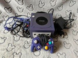 Nintendo GameCube Purple Console COMPLETE SETUP + OFFICIAL CONTROLLER DO... - $73.68