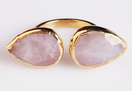 New Janna Conner Women's Gold Plated Rose Quartz Fashion Ring Size 7