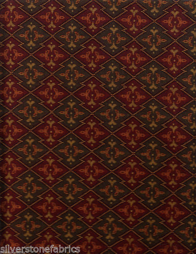 21 yds Imported German Tapestry Upholstery Fabric Alpine Flowers Brick GU1-c21