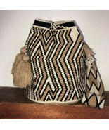 Authentic 100% Wayuu Mochila Colombian Bag large Size natural colors fal... - $86.00