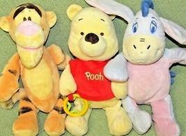 Pooh Baby Plush Lot Rattles Tigger Eeyore Disney Crinkle Pastel Stuffed Animals - $24.75