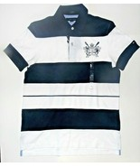Tommy Hilfiger Mens Polo Shirt Striped Navy Blue White Size Medium NWT - $38.79
