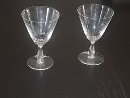 MID CENTURY 1950'S FOSTORIA WINE/CLARET GLASSES ATOMIC PATTERN - $9.95