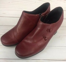 Clarks Side-Zip Shooties Womens Size 8M Burgundy Leather Booties Pumps - $36.42