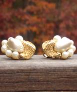 Vintage Crown Trifari Baroque Pearl Clip Earrings - $45.00