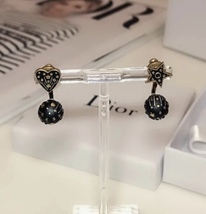 AUTHENTIC CHRISTIAN DIOR Metal Star Heart Earrings Black Gold image 7