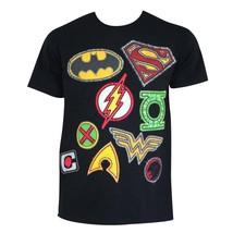 Justice League Patch Logos Tee Shirt Black - $23.98+