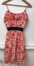 Forever 21 Red Black Ivory Chiffon Ruffle Babydoll Mini Dress S - $14.95