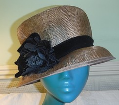 COLLECTION FIRST AVENUE STYLISED TOP HAT CARAMEL STRAW BLACK VELVET BAND... - $23.96