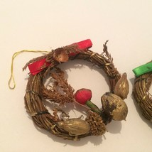 Christmas Tree Ornaments Handmade Wreaths Natural Materials Two - $6.92