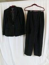 Laura Scott Pant Suit 8 Black Gold Stripes Wear to Work - $12.92
