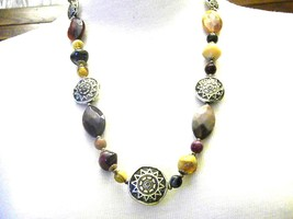 Vintage Earth tone Beads Assorted Shapes Necklace - $14.09