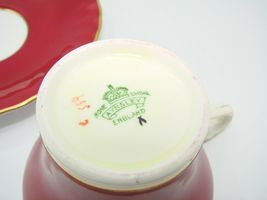 Aynsley Bone China Maroon Gold Floral Interior Corset Waist Tea Cup Saucer 1950 image 3