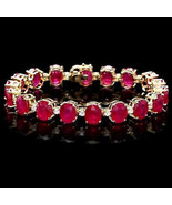 "Oval Red Ruby 14K Yellow Gold Finish Tennis Women""s Bracelet - $299.00"