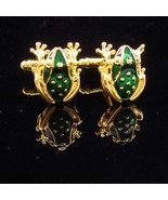 Kiss a FROG Cufflinks / green enamel / gold Toad / whimsical mens gift /... - $110.00