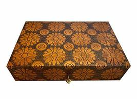 Large Flowers Decorative Wooden Box Handcrafted Wood Floral Keepsake Wooden Lock - $59.39
