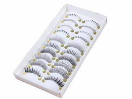 Handmade Natural BLACK False Eyelashes Mixed Loading False Eyelashes (10 Pairs) image 1