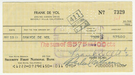 Frank De Vol Signed Check 1964 Autographed Composer Guess Who's Coming t... - $38.79