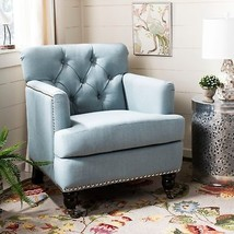 French Country Tufted Club Chair Sky Blue Linen Shabby Chic Square Arm F... - $411.95