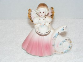 "Josef Originals Six Year Birthday 4"" Angel With Pink Dress & Cake Figurine Guc - $12.99"