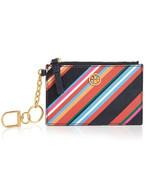 Tory Burch Robinson Stripe Leather Card Case Key Fob Chain Wallet ~NWT $98~ - $88.11
