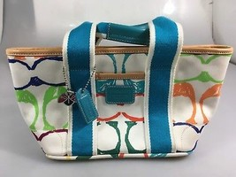 Coach 5659 Hamptons Mini Scribble Multi-Color Fabric Small Handbag Ladyb... - $45.57