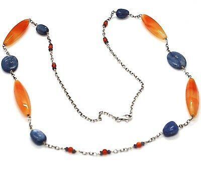 Collar Plata 925 , Ágata Naranja, Cianita Azul, Ámbar, Largo 80cm, Cadena Rolo