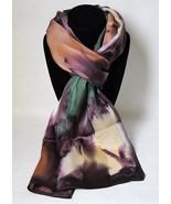 Hand Painted Silk Scarf Purple Green Amber Rectangle Womens Head Neck Ne... - £40.98 GBP