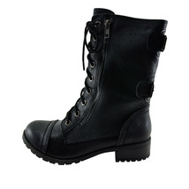 Soda Dome Black Women's Lace Up Combat Boot - $38.95