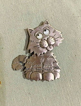 JJ Jonette Googly Eyes Cat Moving Head Brooch Pin Silvertone Brooch  - $23.28