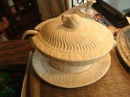 6# Vintage! 4Pc.Set of California Pottery Soup Tureen Milk Glass Panel G... - $89.09