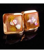 UNUSUAL Venetian Foil Glass Cufflinks /  vintage Murano mosaic / gold je... - $145.00