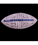 Vintage blue rhinestone duette dress clip - silver fur clip brooch set -... - $195.00