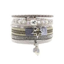 Bracelet PU Leather Bracelets&Bangles For Women Multi Rows Rhinestone Bu... - $10.49