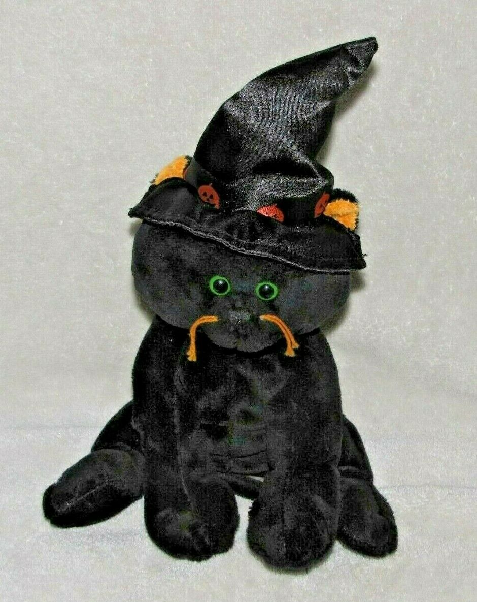 Primary image for Ty Pluffies Cat Stuffed Plush 2007 Merlin ? Black Orange Pumpkin Halloween