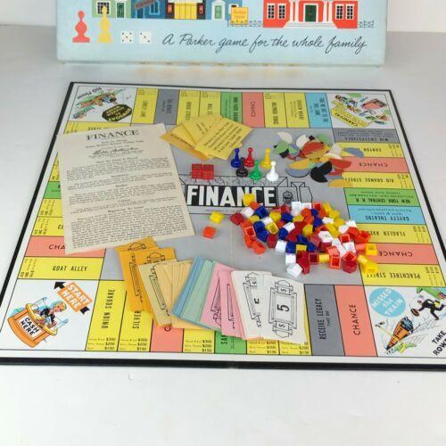 Vintage Finance Board Game No. 100 1958 Parker Brothers Business Trading