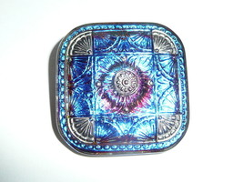 Beautiful Lg Blue & Purple w/ Silver Clrd Accents Square Czech Glass Shn... - $9.89