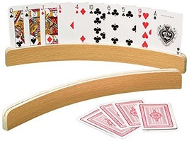 """14"""" Curved Shape Wooden Card Holders Set of Two, Natural Finish"""