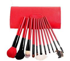 Hot Red Cosmetic Brushes Kit with White PU Bag 11 PCS
