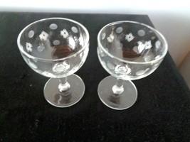 2 Vintage Clear Etched Dot & Lines Cordial  3 1/2 oz Goblets - $9.89