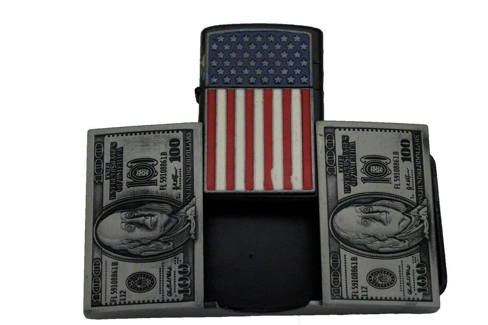 Men Biker Belt Buckle Silver Metal USA American Flag Lighter Fire US Bill