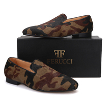 Handmade Men FERUCCI Brown Horse Hair Camouflage Slippers loafers Flat - $169.99