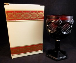 1876 Ruby Red AVON CAPE COD Collection NEW WATER GOBLET Floral Medley Ca... - $9.89