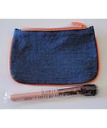 "IPSY Makeup Bag Denim & Orange Borders w/ Luxie Blush Brush ""Much Love"" ... - $12.67"