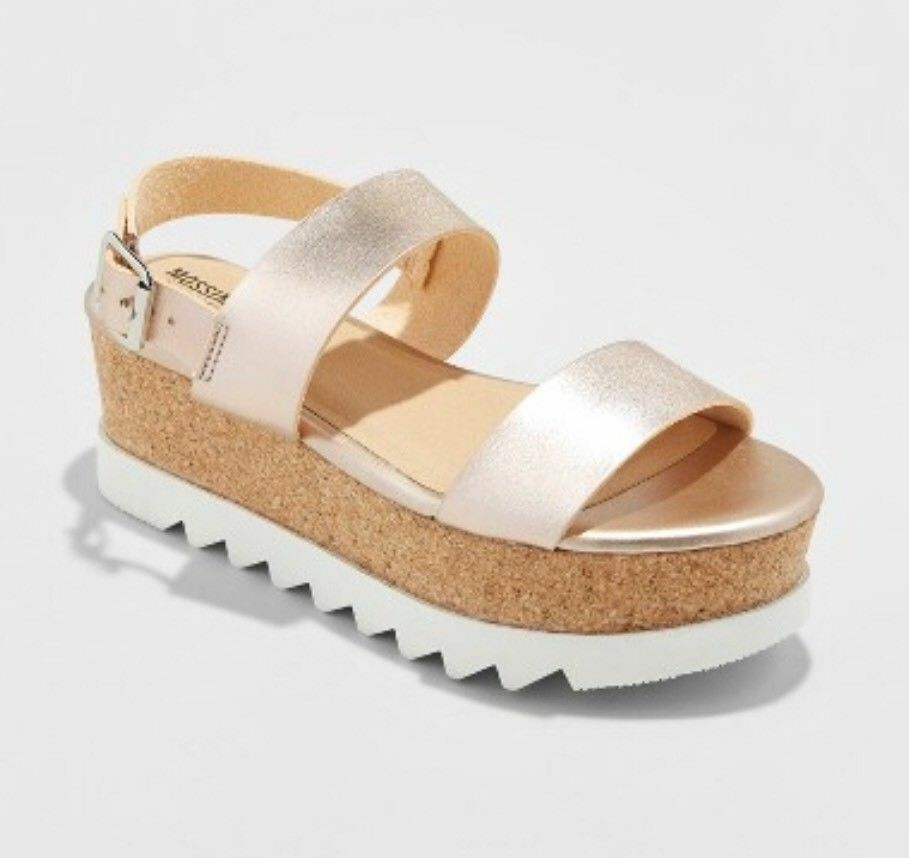 New Mossimo Womens Gold Lizzie Platform Summer Sandals