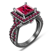 Princess Cut Pink Sapphire Womens Engagement Ring 14k Black Gold Over 92... - £66.12 GBP