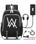 DJ Marshmello ALAN WALKER Backpack Ruack Bag w/ USB Fashion Port / Lock ... - $44.52