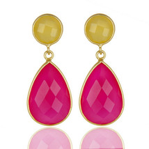 Pink Chalcedony Gemstone 925 Silver Women's Drop Earrings Genuine Jewelry - $25.74