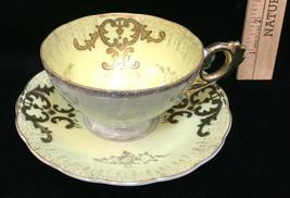 Tea Cup & Saucer Porcelain Yellow & White w/ Gold Trim Ornate Vintage - $9.85