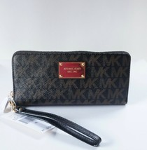 NWT MICHAEL KORS JET SET TRAVEL SIGNATURE CONTINENTAL WALLET- BLACK/DARK... - $74.25